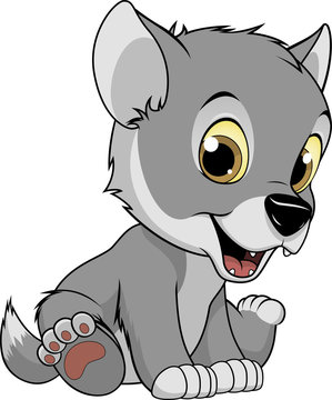 Funny baby wolf