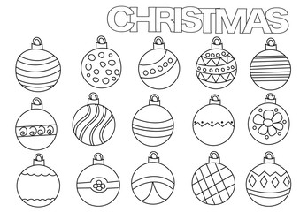 Christmas ball decoration outlined shape. Coloring book page template.  Black and white doodle vector illustration.
