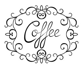 Graphic lettering Coffee surrounded by a frame. Calligraphic inscription isolated on white background.  Template of banner, poster, t-shirt print or logotype. Coffee logo. Vector illustration