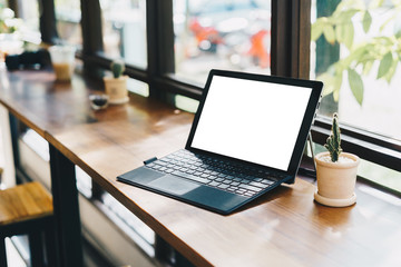 Laptop with blank screen on table,Laptop on desk,Business Work p