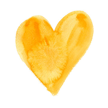 Big yellow heart painted in watercolor on white isolated background