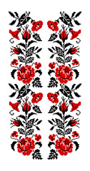 Color bouquet of flowers (roses, bellflowers and pansies) using traditional Ukrainian embroidery elements. Red and black tones. Seamless  pattern. Can be used as pixel-art.