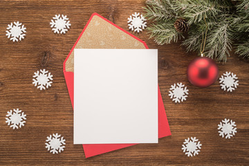 Red envelope on christmas holiday background