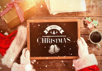Santa Claus Holding a Chalk Tablet Mockup 3