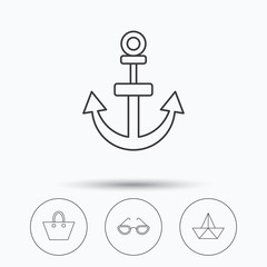 Paper boat, anchor and glasses icons. Ladies handbag linear sign. Linear icons in circle buttons. Flat web symbols. Vector