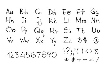Hand written font. Sketchy english letters and numbers isolated on white. Vector eps8 illustration.