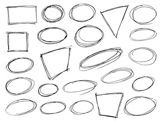 Set of hand drawn scribble symbols isolated on white. Doodle style badges, frames and bubble shapes. Monochrome vector eps8 design elements.