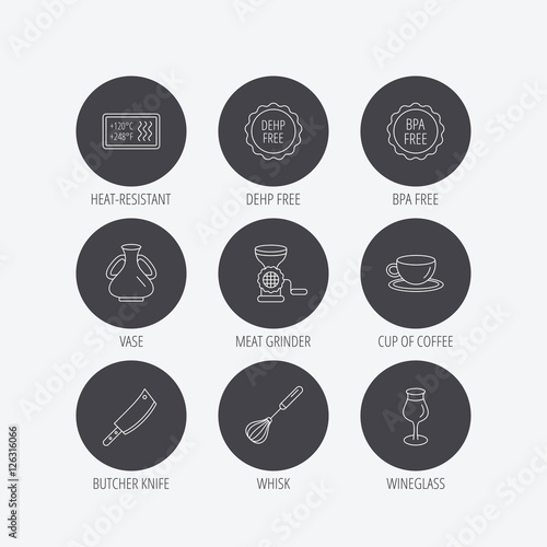 coffee cup butcher knife and wineglass icons meat grinder whisk and vase linear signs heat. Black Bedroom Furniture Sets. Home Design Ideas