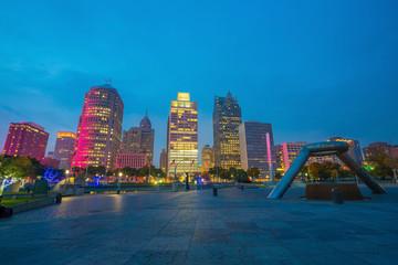 Fotomurales - View of downtown Detroit riverfront