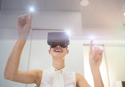 User in White Blouse with VR Goggles Mockup