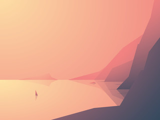 Ocean coast vector illustration with sea view and high rock cliffs. Sailboat or yacht on the water. Nature outdoor background.