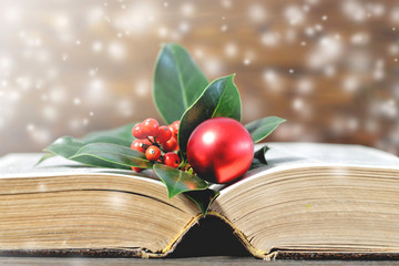 Old book, Christmas decoration and snow