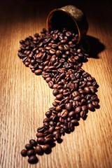 coffee, coffee beans, roasted coffee, roasted coffee beans, coffee beans isolated on Wooden background, coffee beans close up, coffee beans cut out, coffee beans, coffee beans in cup