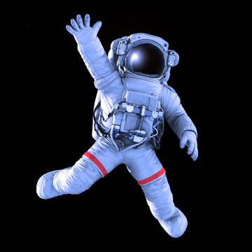 Astronaut waving on a black background, work path