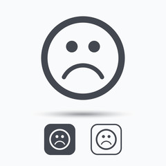 Sad smiley icon. Bad feedback symbol. Square buttons with flat web icon on white background. Vector