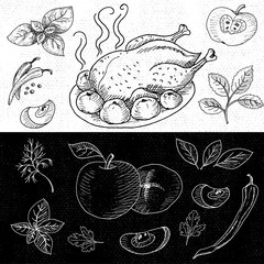 Set of chalk hand drawn, in sketch style, food and spices, black and white chalkboard background.  Roasted grill chicken seasoned with apples and spices. Chicken, apples, onion, pepper, tomato