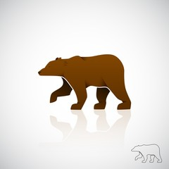 Abstract logo brown bear. Vector illustration.