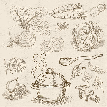 Set of chalk sketch hand drawn, in sketch style, food and spices, old paper textured background. Hot soup in a pot. Wooden spoon, mushrooms, beet, pepper, cabbage, onion, carrot.