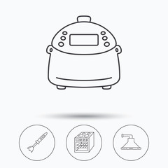Oven, kitchen hood and blender icons. Multicooker linear sign. Linear icons in circle buttons. Flat web symbols. Vector