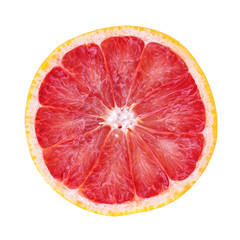 Slice of grapefruit isolated on white background with clipping path