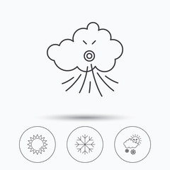 Weather, sun and snow icons. Wind and snowflake linear signs. Linear icons in circle buttons. Flat web symbols. Vector