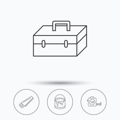 Saw, bucket of paint and tape measure icons. Toolbox linear sign. Linear icons in circle buttons. Flat web symbols. Vector