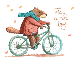 Watercolor beaver in coat and scarf riding a bicycle