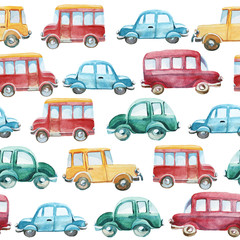 watercolor pattern of different cars