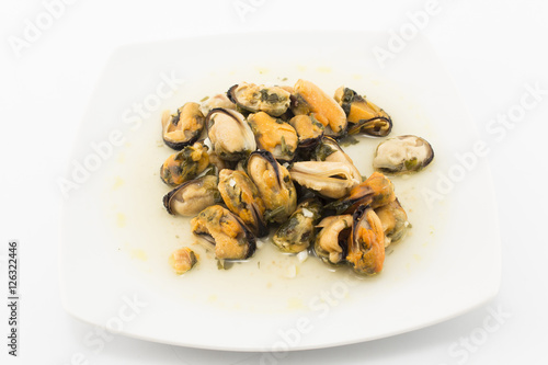 "Mussels Cooked in White Wine with Parsley and Garlic"" Stock photo and ..."