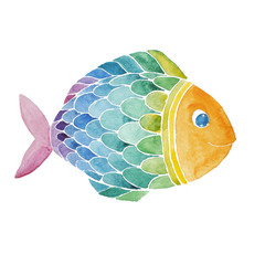 Rainbow fish watercolor painted.