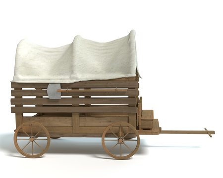 3d illustration of a western wagon