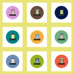 Collection of stylish vector icons in colorful circles building apartment block