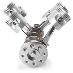 Crankshaft pistons engine V6 mechanism