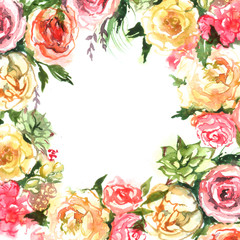 hand drawn flowers roses