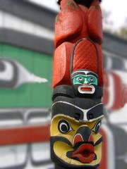 Detail, Totem pole carved from cedar, Thunderbird Park, Victoria, BC, Canada