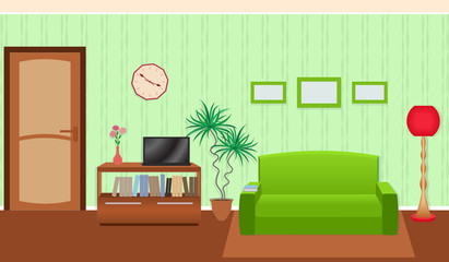 Bright colors living room interior in flat style