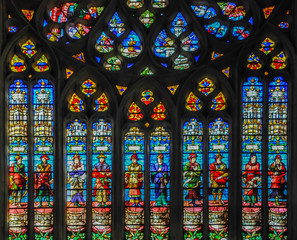 Famous Gothic stained glass of the Cathedral of Beauvais, France