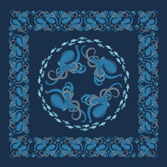 background with ornament of octopus and fish