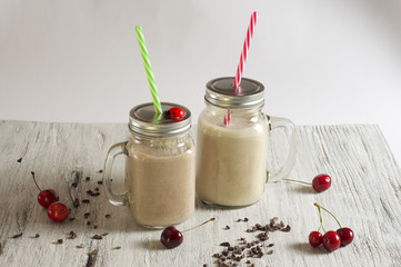 Peanut butter, banana, oatmeal and cocoa powder Smoothie