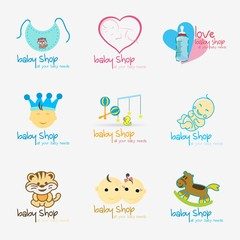 Baby Shop Logo design template. vector illustration