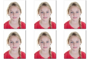 Passport picture or Identification photo of a young blond girl id