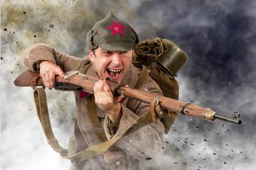 Soviet soldier ww2 attack