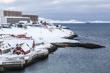 Old harbor covered in snow, Nuuk, Greenland