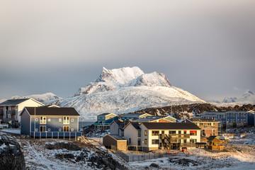 Sunset in Greenland capital Nuuk, Sermitsiaq mountain