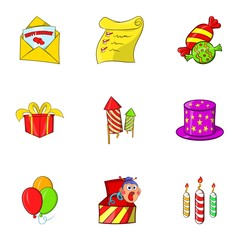 Children party icons set. Cartoon illustration of 9 children party vector icons for web