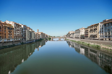 Scenic view of Arno River in Florence, Italy.