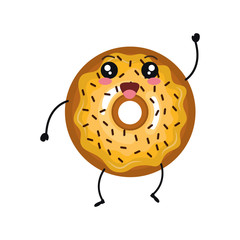 delicious donut comic character vector illustration design