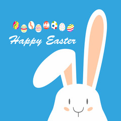 Happy Easter,  Bunny brought children to the egg. Postcard for holiday
