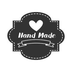 Hand Made label, handmade crafts workshop, vector illustration