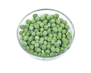 Frozen organic peas in bowl isolated on white background